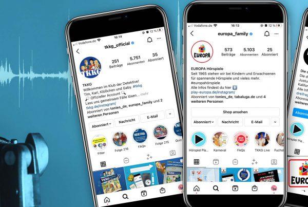 Die Instagram Profile von TKKG, Die drei ??? und Europa Hörspiele aus dem Hause Sony Music