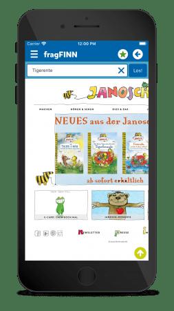 Ein Screenshot der fragFINN Kinderschutz App auf dem Smartphone
