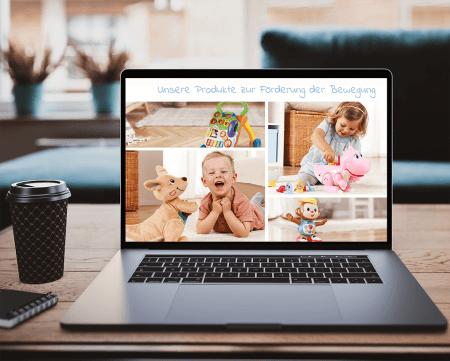 Ein Laptop mit einem Ausschnitt der VTech Baby Webseite