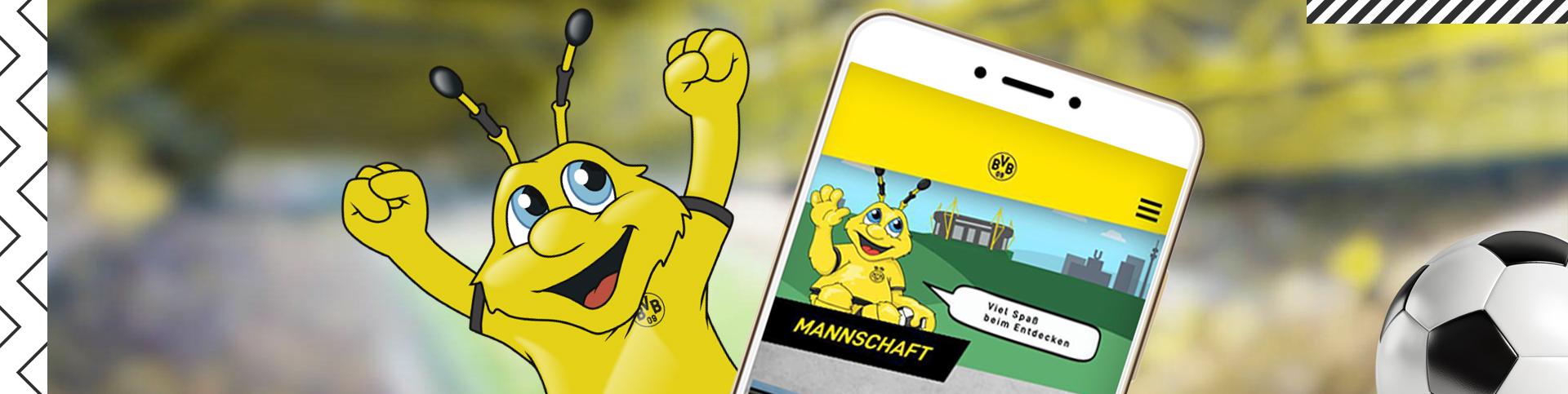 Borussia Dortmund Maskottchen EMMA, präsentiert die neue App des BVB Kids Club