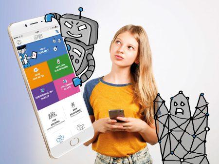 Eine Jugendliche und ein Smartphone mit einem Ausschnitt der Streitkultur 3.0 App der Berghof Foundation